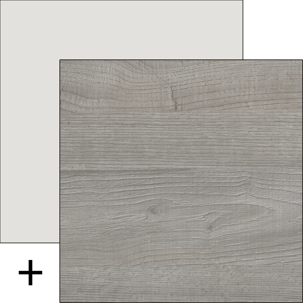 Wood light grey with matt white accent