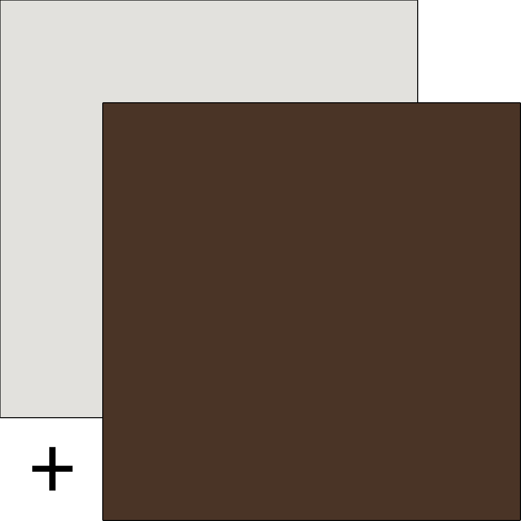 Matt dark brown with matt white accent