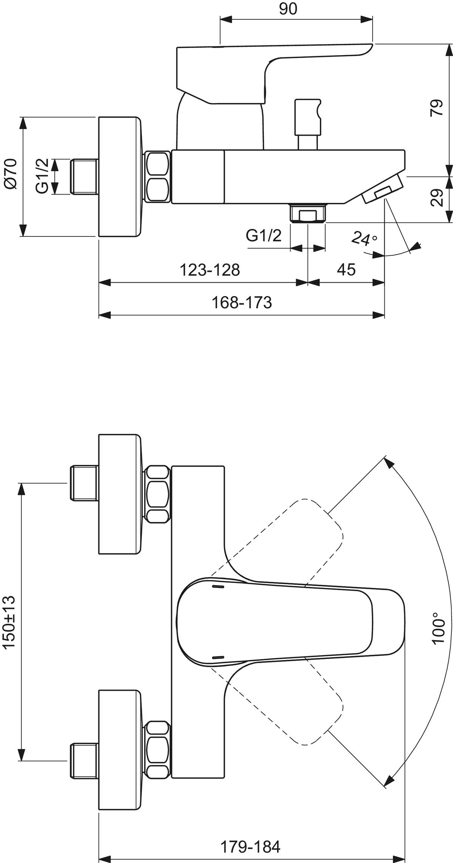 Ideal Standard CeraPlan III Badebatterie Badwannenarmatur Einhebel B0718AA chrom